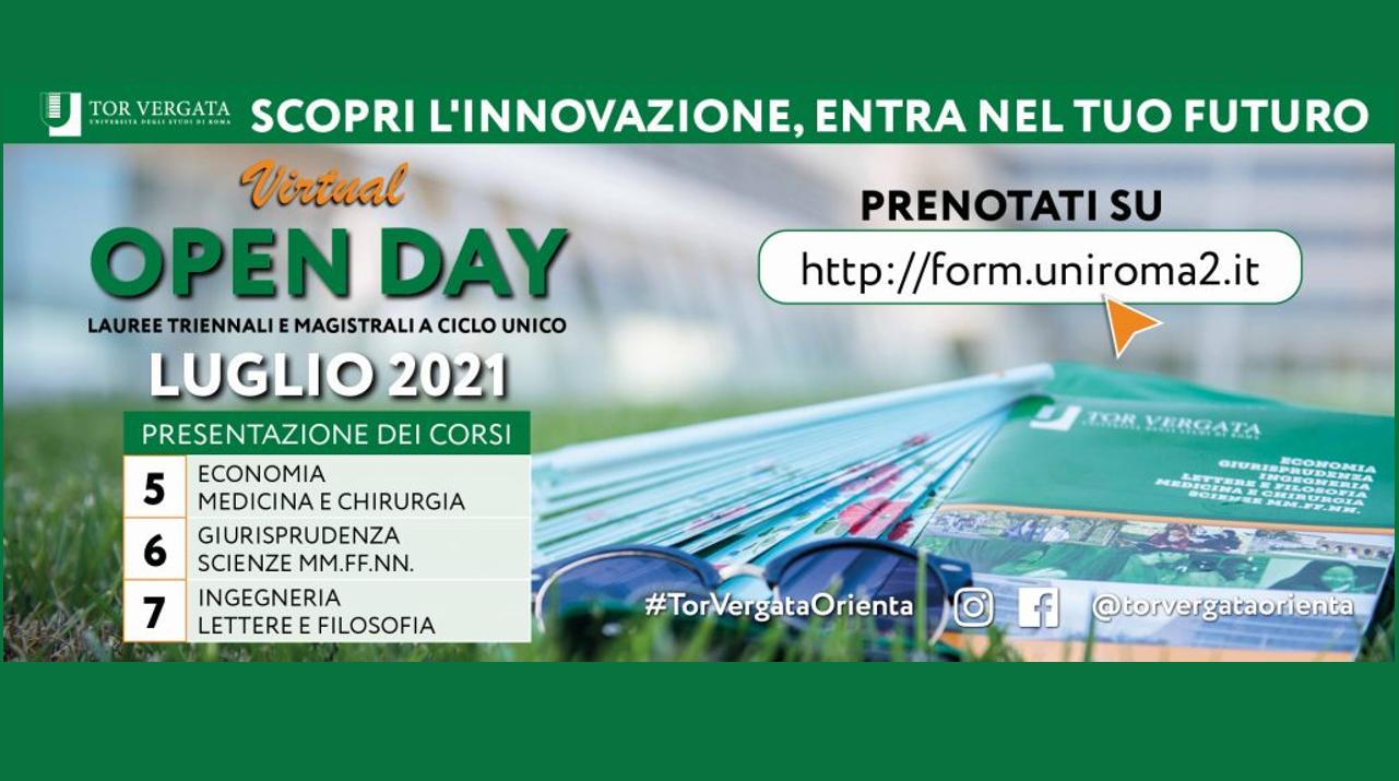 Virtual Open Day 2021 a Tor Vergata: presentazione lauree triennali e magistrali a ciclo unico